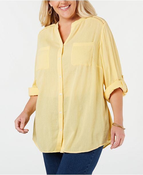 Charter Club Plus Size Eyelet-Trim Textured Blouse, Created for Macy's