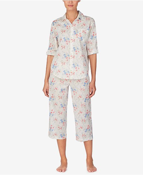 Lauren Ralph Lauren Petite Top and Capri Pants Cotton Pajama Set
