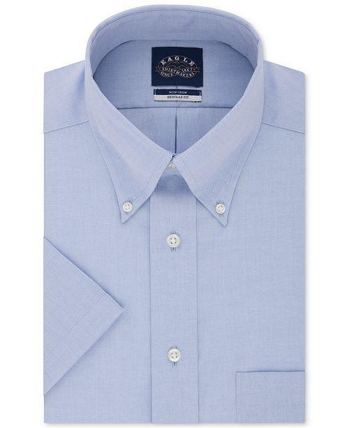 Eagle Men's Classic/Regular Fit Non-Iron Flex Collar Solid Short Sleeve Dress Shirt