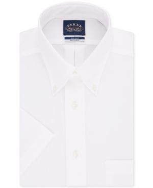 Men's Classic/Regular Fit Non-Iron Flex Collar Solid Short Sleeve Dress Shirt