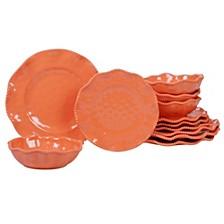 Perlette Coral Melamine 12-Pc. Dinnerware Set