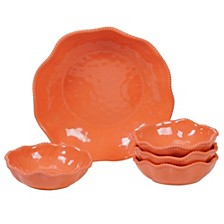Perlette Coral Melamine 5-Pc. Salad/Serving Set