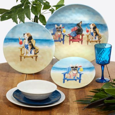 Hot Dogs Melamine 6-Pc. Dinner Plate Set