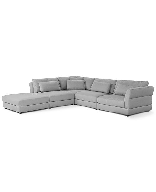 Furniture Coylan 5-Pc. Fabric Modular with Open End Ottoman