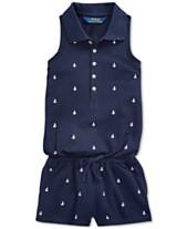 2210c8041e Polo Ralph Lauren Toddler Girls Anchor Cotton Mesh Romper