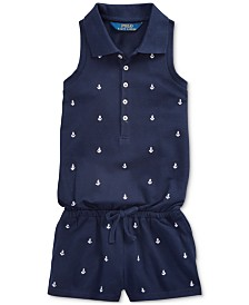 Polo Ralph Lauren Toddler Girls Anchor Cotton Mesh Romper