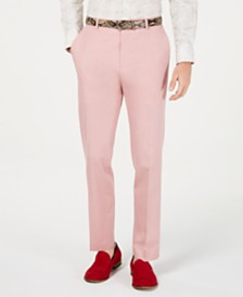 Tallia Men's Slim-Fit Stretch Pink Suit Pants