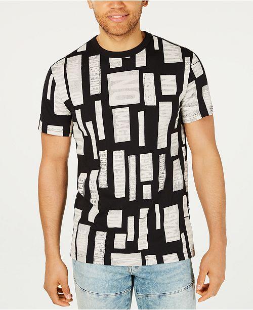 G Star Raw Men's Geometric Text Print T Shirt, Created for