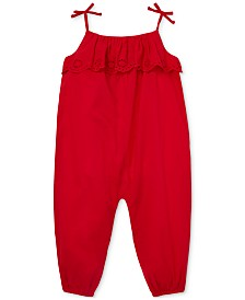 Polo Ralph Lauren Baby Girls Eyelet-Overlay Cotton Romper