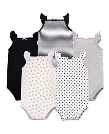 Sleeveless Cotton Bodysuits, 5 Pack, 0-24 Months