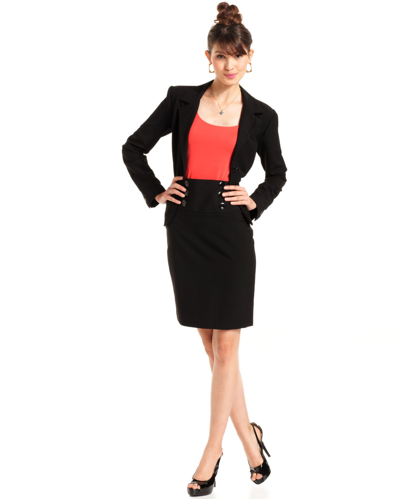 BCX Juniors Blazer & High-Waist Pencil Skirt - Juniors - Macy's