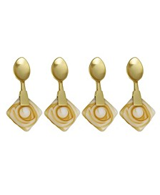 Set of 4 Dessert Spoons with Agate Stone Handle
