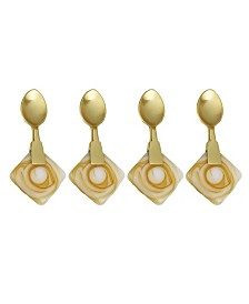 Classic Touch Set of 4 Dessert Spoons with Agate Stone Handle