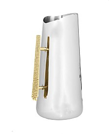 "Classic Touch 10"" Two Tone Stainless Steel Pitcher"