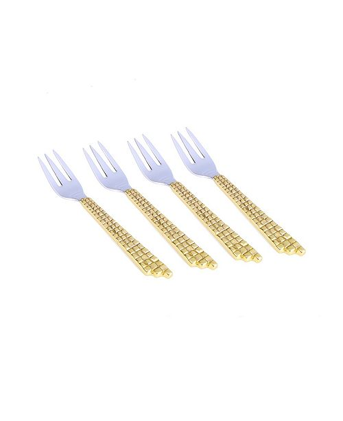 Classic Touch Set of 4 Two Tone Stainless Steel Dessert Forks