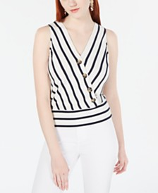 BCX Juniors' Striped Button-Trimmed Tank Top