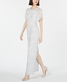 Embellished Flutter-Sleeve Gown