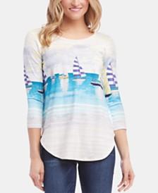 Karen Kane Ocean-Graphic Shirttail-Hem Top