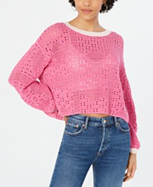 Free People Home Run Cotton Crochet Sweater