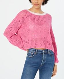 Free People Home Run Cotton Crochet Sweater