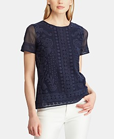 Lauren Ralph Lauren Embroidered Top, Created for Macy's
