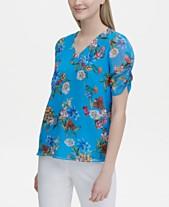 cabc48b4fd2 Calvin Klein Printed Puff-Sleeve Top