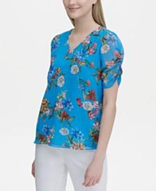 Calvin Klein Printed Puff-Sleeve Top