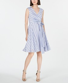 Calvin Klein Striped Fit & Flare Dress