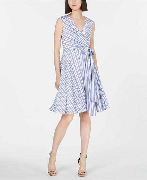 Calvin Klein Striped Fit & Flare Dress