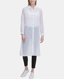 Calvin Klein Crinkled Button-Through Tunic