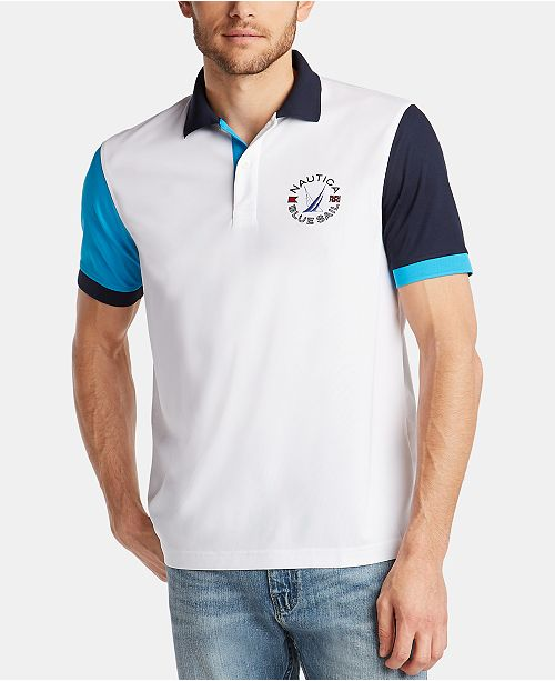 Nautica Men's Blue Sail Classic Fit Moisture-Wicking Colorblock Polo, Created for Macy's