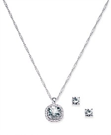 Charter Club Silver-Tone Crystal Stud Earrings & Pendant Necklace Set, Created for Macy's