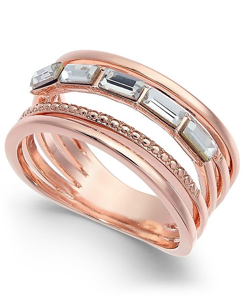 Charter Club Rose Gold-Tone Baguette Crystal Stack Ring, Created for Macy's