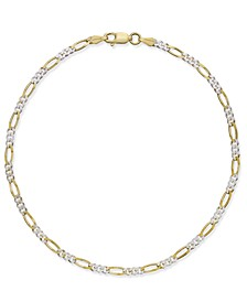 Thin Figaro Chain Ankle Bracelet in 18k Gold-Plated Sterling Silver, Created for Macy's