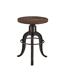"""Paxton Recycled Teak Adjustable Bar Stool with Cast Iron Base - 16"""" x 16"""" x 22"""""""