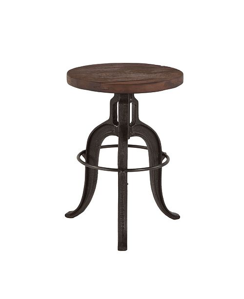 """World Interiors Paxton Recycled Teak Adjustable Bar Stool with Cast Iron Base - 16"""" x 16"""" x 22"""""""