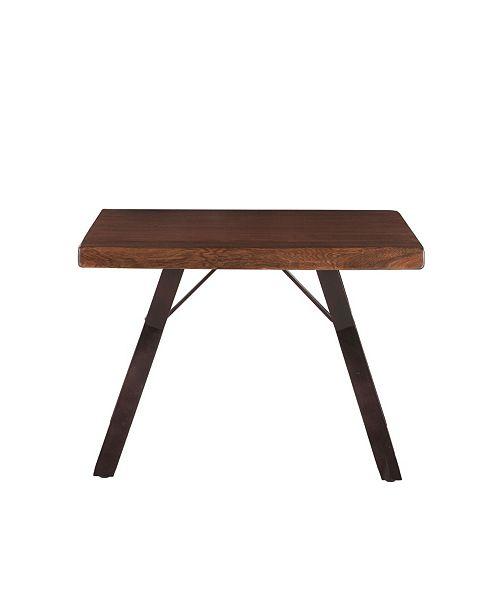 "World Interiors Nottingham Acacia Wood Side Table in Walnut Finish - 30"" x 25"" x 23"""