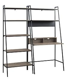 2-Piece Home Office Wood Desk Set
