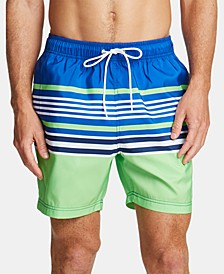"Men's Variegated Stripe Quick-Dry 8"" Swim Trunks"