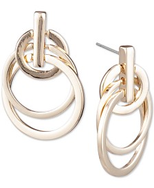 Anne Klein Gold-Tone Multi-Hoop Drop Earrings