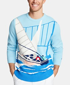 Nautica Men's Cotton Intarsia Sailboat Sweater, Created for Macy's