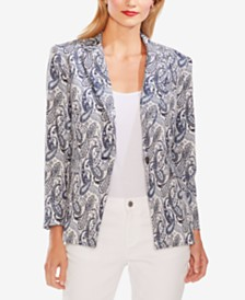 Vince Camuto Paisley-Jacquard One-Button Blazer