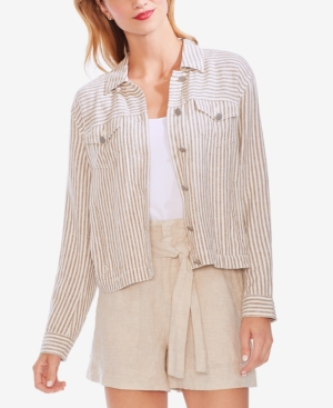 Vince Camuto Jackets STRIPED BUTTON-FRONT JACKET