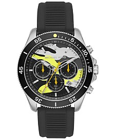 Michael Kors Men's Chronograph Theroux Sport Black Silicone Strap Watch 45mm