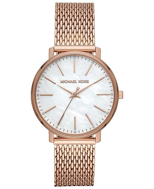 bee9fb22a35 Michael Kors Women's Pyper Rose Gold-Tone Stainless Steel Mesh Bracelet  Watch ...