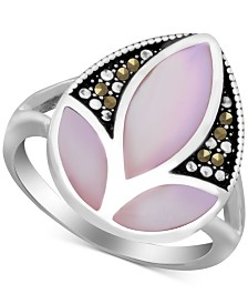 Pink Shell & Marcasite Ring in Fine Silver-Plate