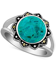 Reconstituted Turquoise & Marcasite Ring in Sterling Silver