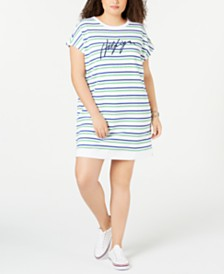 Tommy Hilfiger Sport Plus Size Striped Logo Dress