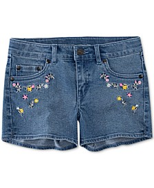 Little Girls Floral Embroidered Denim Shorts