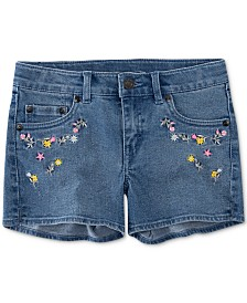 Levi's® Little Girls Floral Embroidered Denim Shorts